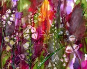 Alcohol Ink Art, Print,  Cottage Garden XX