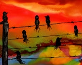 Alcohol Ink Art, Print, Birds on a Wire