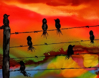 Alcohol Ink Art, Art Print, Birds on a Wire