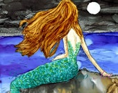 Alcohol Ink Art, Print, Enchanting Mermaid