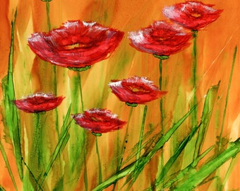 Alcohol Ink Art.  Alcohol Ink Painting.  Original Art.  Poppies