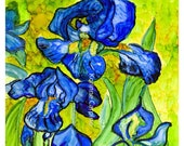 Alcohol Ink Art Print.  Van Gogh Iris Detail