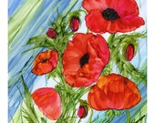 Alcohol Ink Art Original   Poppies X