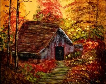Alcohol Ink Art Print, Autumn Evening at the Barn