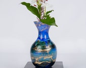 Flower Vase, Bud Vase, Glass Vase,  Hand Painted Vase