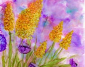 Alcohol Ink Art Print, Summer Garden I