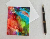 Note card. Art card. Greeting card. Print of original alcohol ink art. Look Beyond.