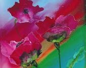 Alcohol Ink Art.  Poppy D...