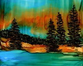 Alcohol Ink Art, Print,  Landscape
