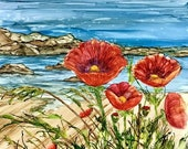 Holiday Sale Alcohol Ink Art Print. Poppies by the Sea