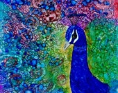 Holiday Sale Alcohol Ink Art, Print, Peacock