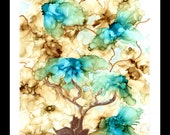 Alcohol Ink Art, Print,  Abstract Bonsai