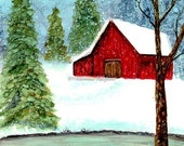 Holiday Sale Alcohol Ink Art Original, Winter on the Farm
