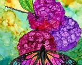 Holiday Sale Alcohol Ink Art. Butterfly