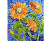 Alcohol ink Art Print,  Sunflowers