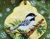 Holiday Sale Alcohol Ink Ornaments.  Christmas chickadee