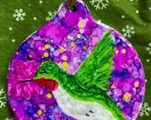 Holiday Sale Alcohol Ink Ornaments.  Hummingbird