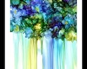 Alcohol Ink Art, Print,  Blue Violets