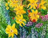 Alcohol Ink Art Print.  Cottage Garden Daisies.