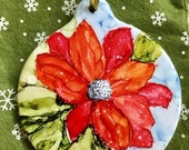 Holiday Sale Alcohol Ink Ornaments.  Christmas Flower