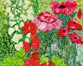 Holiday Sale Alcohol ink Art Print.  Cottage Garden Poppies.