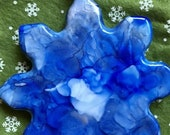 Holiday Sale Alcohol Ink Ornaments.  Silver Blue Snowflake