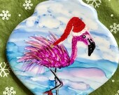 Holiday Sale Alcohol Ink Ornaments.  Funky Flamingo .