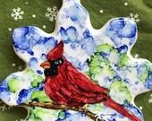 Holiday Sale Alcohol Ink Ornaments.  Christmas Snowflake Cardinal