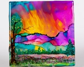 Ceramic Sunrise Landscape Coaster