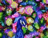 Holiday Sale Alcohol Ink Art, Peacock III