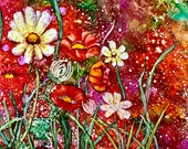 Alcohol Ink Art Print.  Garden Gone Wild