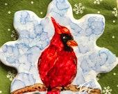 Alcohol Ink Ornaments.  Christmas Snowflake Cardinal II