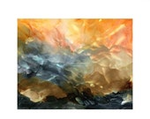 Holiday Sale Alcohol Ink Art Print, Abstract Landscape