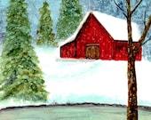 Alcohol Ink Art Original, Winter on the Farm