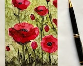Note card. Art card. Greeting card. Blank Card.  Cottage Garden Poppies XX