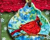 Holiday Sale Alcohol Ink Ornaments.  Red Cardinal II