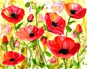 Alcohol Ink Art, Print,  Red Poppy Dance