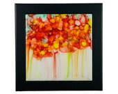 Ceramic Tile Wall Art Abstract Orange Blossoms