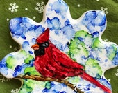 Alcohol Ink Ornaments.  Christmas Snowflake Cardinal
