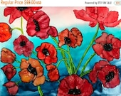 Holiday Sale Alcohol Ink Art Painting.  Poppies XX