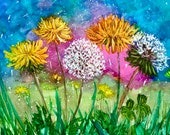 Alcohol Ink Art, Print,  Dandelions