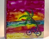 Alcohol ink art.  Bicycle landscape