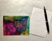 Note card. Art card. Greeting card. Blank card.   Butterfly Bloom