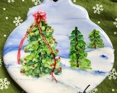 Holiday Sale Alcohol Ink Ornaments.  Christmas Tree in Snow II