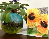Fine Art Note Card - -Glorious Sunflowers