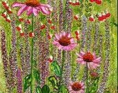 Holiday Sale Alcohol Ink Art Print.  Cottage Garden Coneflowers.