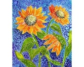 Holiday Sale Alcohol ink Art Print,  Sunflowers
