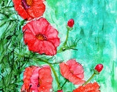 Alcohol Ink Art Print. Coral Poppy Patch