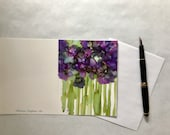 Alcohol Ink Note Card -  Abstract  Violets.