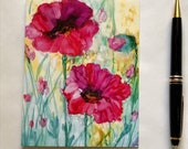 Artistic Note Card -  Pink Poppies